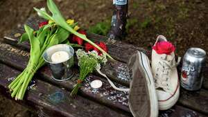 Fans of Nirvana's lead singer, Kurt Cobain, paid homage to the late rock icon with offerings of flowers, unopened beers and handwritten notes on a bench near the home where Cobain died on the 20th anniversary of his death Saturday, April 5, 2014, at Viretta Park in Seattle. On April 10, Nirvana will be inducted into the Rock and Roll Hall of Fame.