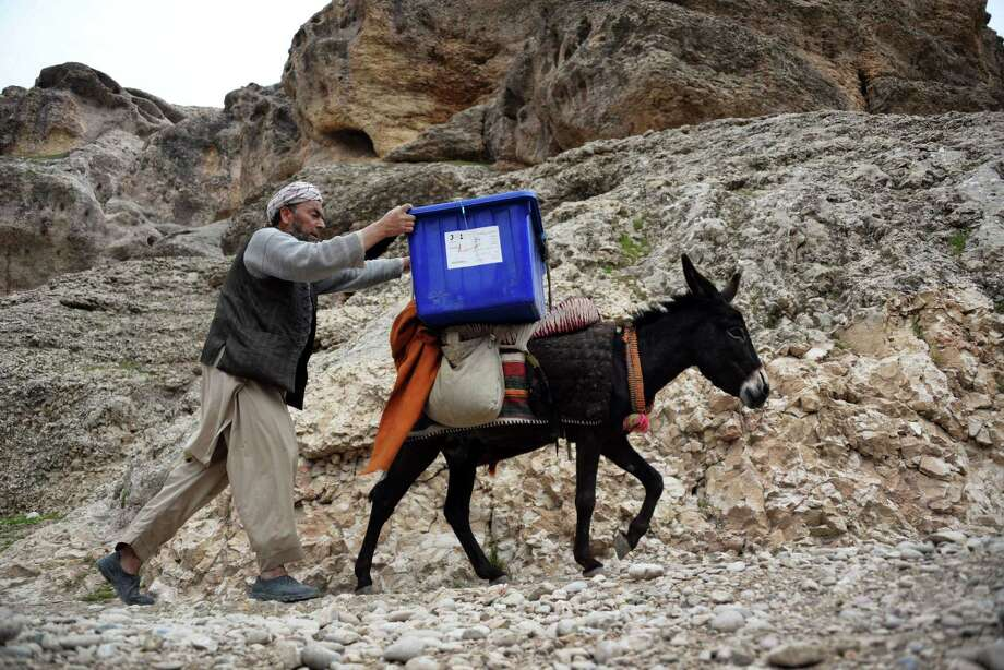 An Afghan election worker walks alongside a donkey as he and other workers transport election materials and ballot boxes to remote polling stations in rough districts with difficult access in Kishindih district of Balkh Province in northern Afghanistan on April 3, 2014. Afghans will go to the polls on April 5 to choose a new President.  AFP PHOTO/Farshad UsyanFARSHAD USYAN/AFP/Getty Images Photo: FARSHAD USYAN / AFP