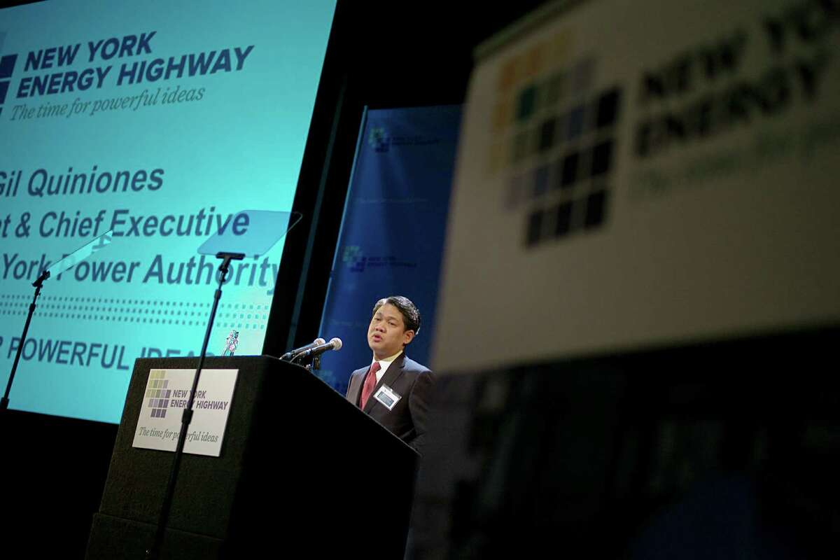 Gil Quinones, who leads New York's power authority and a task force on an energy highway, speaks at a forum at Columbia University, in New York, April, 4, 2012. The conference of more than 500 specialists was organized by a state task force on Gov. Andrew M. Cuomo's proposal to create robust ways to strengthen New York state's power grid. (Angel Franco/The New York Times)