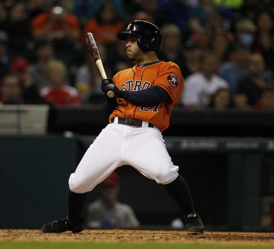 April 4: Angels 11, Astros 1Astros second baseman Jose Altuve at bat. Photo: Karen Warren, Houston Chronicle