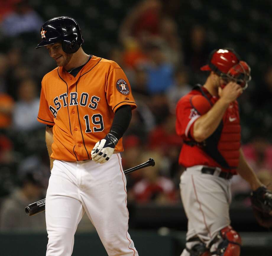Astros left fielder Robbie Grossman strikes out. Photo: Karen Warren, Houston Chronicle