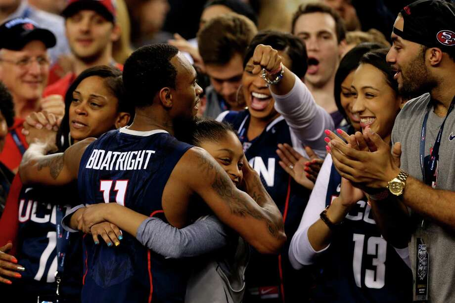 ARLINGTON, TX - APRIL 05: Ryan Boatright #11 of the Connecticut Huskies celebrates after defeating the Florida Gators 63-53 in the NCAA Men's Final Four Semifinal at AT&T Stadium on April 5, 2014 in Arlington, Texas. Photo: Ronald Martinez, Getty Images / Getty Images