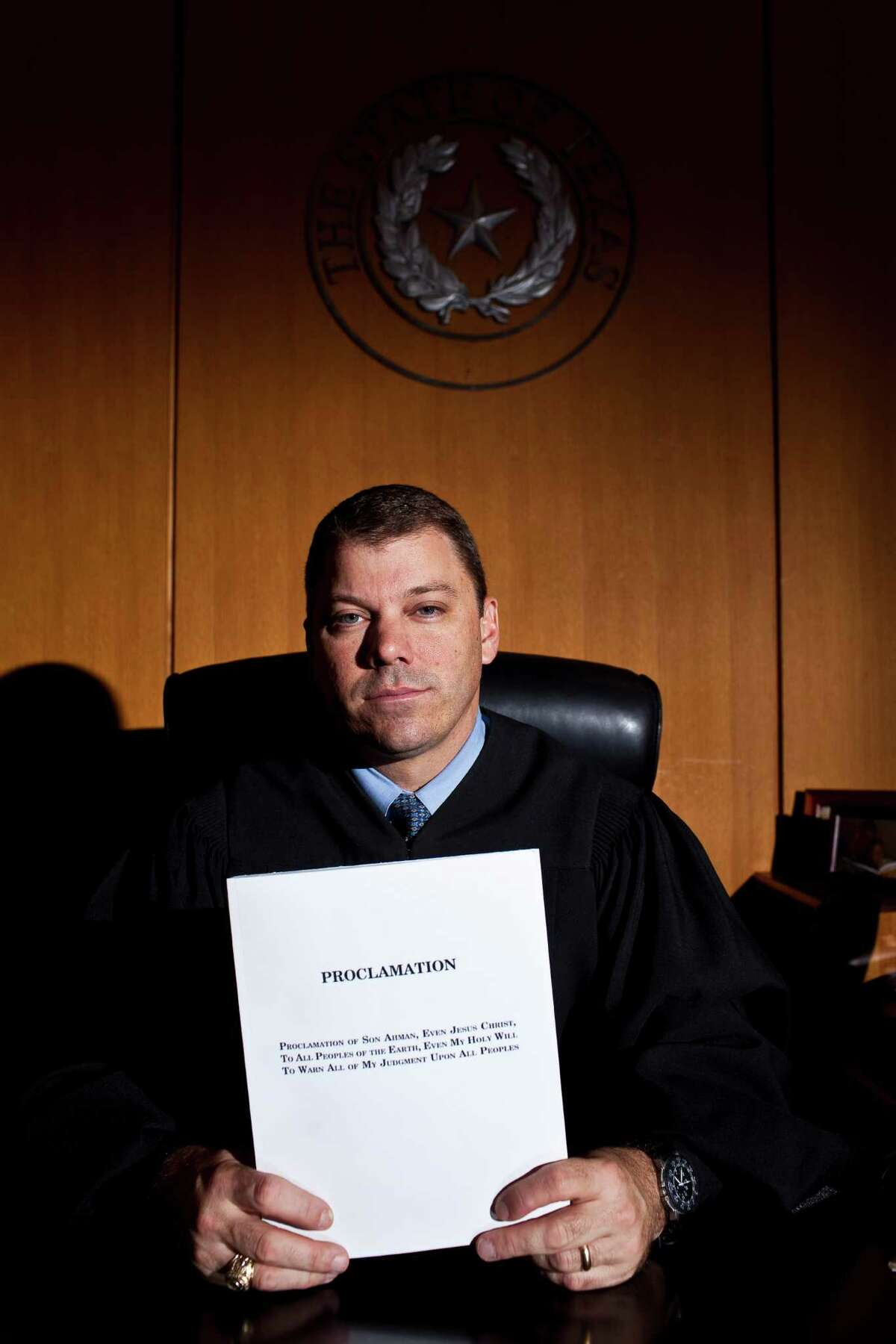 David Farr, chief judge of the family court, was one of several judges that received a book of prophecies in the mail. It was written by sect leader Warren Jeffs. Nov. 18, 2011. (Eric Kayne/For the Chronicle)