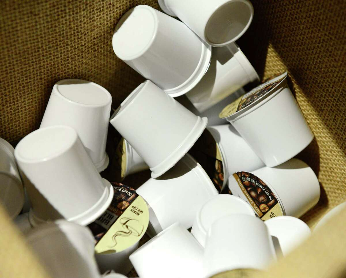 Coffee K-Cup coffee packets.