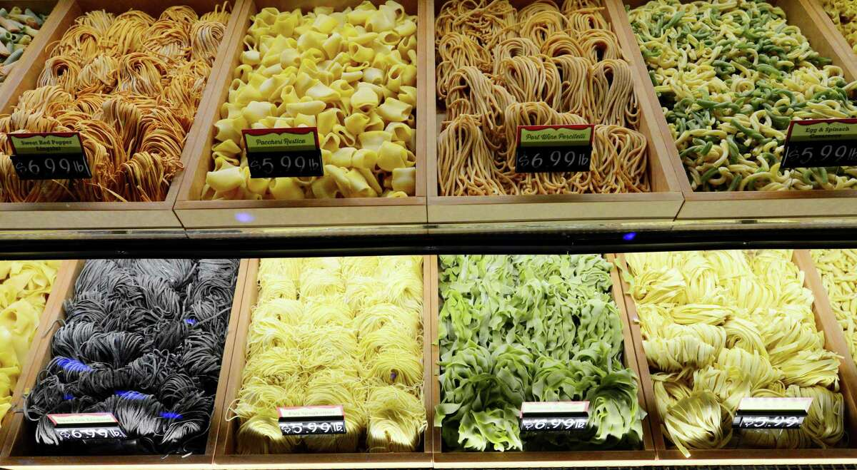 Selection of fresh pastas offered at new the Market Bistro by Price Chopper supermarket Tuesday, April 1, 2014, in Colonie, N.Y. (Will Waldron/Times Union)