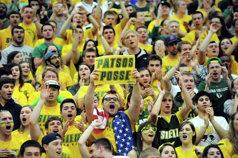 Siena student section cheers during their CBI final game against Fresno State on Saturday, April 5,