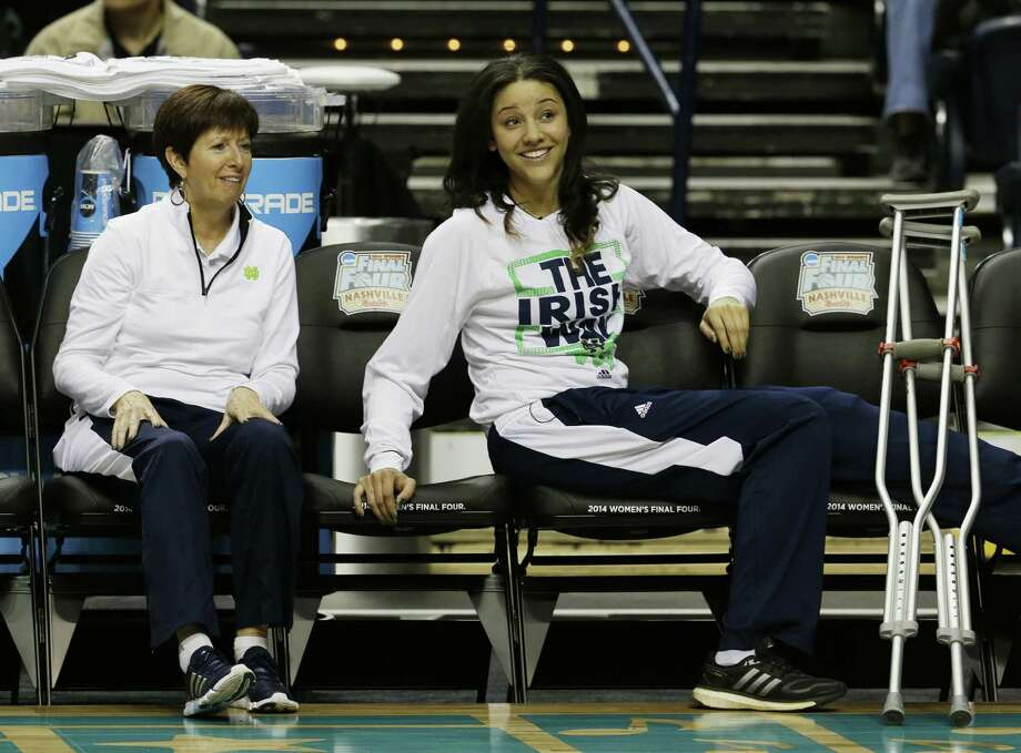 Notre Dame coach Muffet McGraw's team enters the Final Four with its best player, Natalie Achonwa, missing her first game with a torn ACL suffered in the regional final win over Baylor. Photo: Mark Humphrey / Associated Press / AP