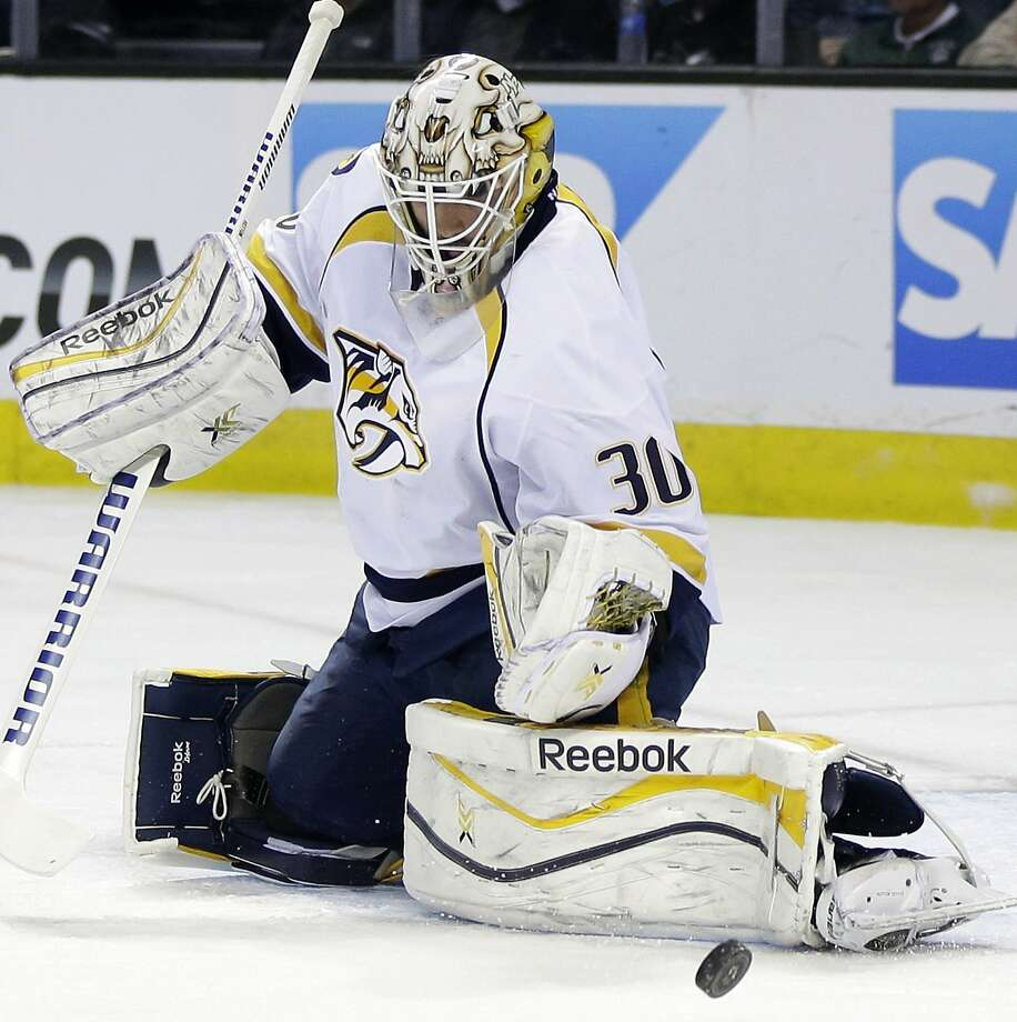 Predators goalie Carter Hutton earned his first NHL shutout, stopping 35 shots by the Sharks. Photo: Marcio Jose Sanchez, Associated Press