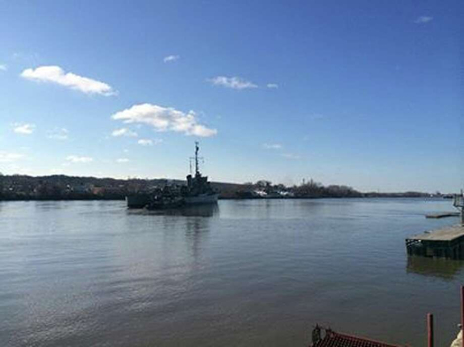 An image of the USS Slater leaving its dock in Albany Sunday April 6, 2014 for Staten Island for scheduled repairs. (Facebook)