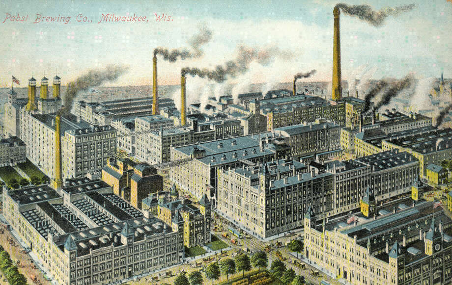 This image provided by the Pabst Mansion museum shows a postcard depicting the Pabst Brewery around 1900 in Milwaukee. A small group of Milwaukee residents want to revive the city's beer brewing tradition by buying Pabst Brewing Co. from a California executive in hopes of returning the brand's headquarters to its birthplace. Photo: Carrie Antlfinger, AP  / AP2014