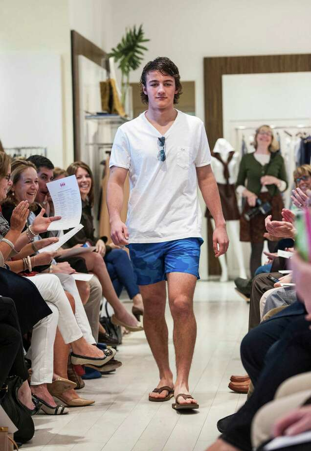 Pete Agro from Greenwich high school walks down the runway during the 10th Annual Juniors Fashion Show to raise funds for the Breast Cancer Alliance organization, held at Mitchells/Richards, Greenwich, CT on Sunday, April, 6th, 2014. Photo: Mark Conrad / Connecticut Post Freelance