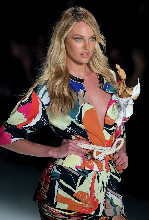 South Africa's model Candice Swanepoe wears a creation from the Forum Summer collection during Sao Paulo Fashion Week in Sao Paulo, Brazil, Thursday, April 3, 2014. Photo: Andre Penner, AP / AP2014