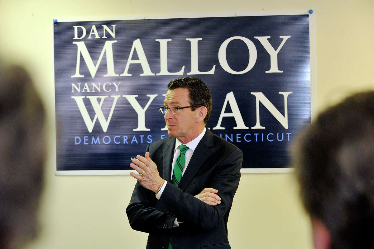 Gov. Dannel P. Malloy addresses a crowd of supporters during the governor's campaign kickoff party at the Democratic City Committee headquarters in Stamford, Conn., on Sunday, April 6, 2014.
