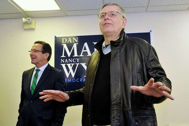 Mayor David Martin introduces Gov. Dannel P. Malloy during the governor's campaign kickoff party at the Democratic City Committee headquarters in Stamford, Conn., on Sunday, April 6, 2014. Photo: Jason Rearick / Stamford Advocate