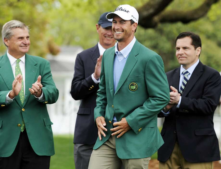 Masters champion Adam Scott first wore the winner's green jacket last April 14, and says he's tried it on in front of a mirror every single day since. Photo: Rainier Ehrhardt, Associated Press