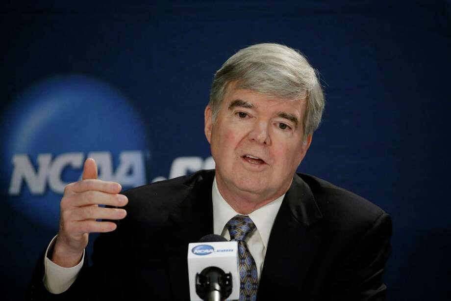 NCAA President Mark Emmert answers a question at a news conference Sunday, April 6, 2014, in Arlington, Texas. (AP Photo/David J. Phillip) Photo: David J. Phillip, Associated Press / AP