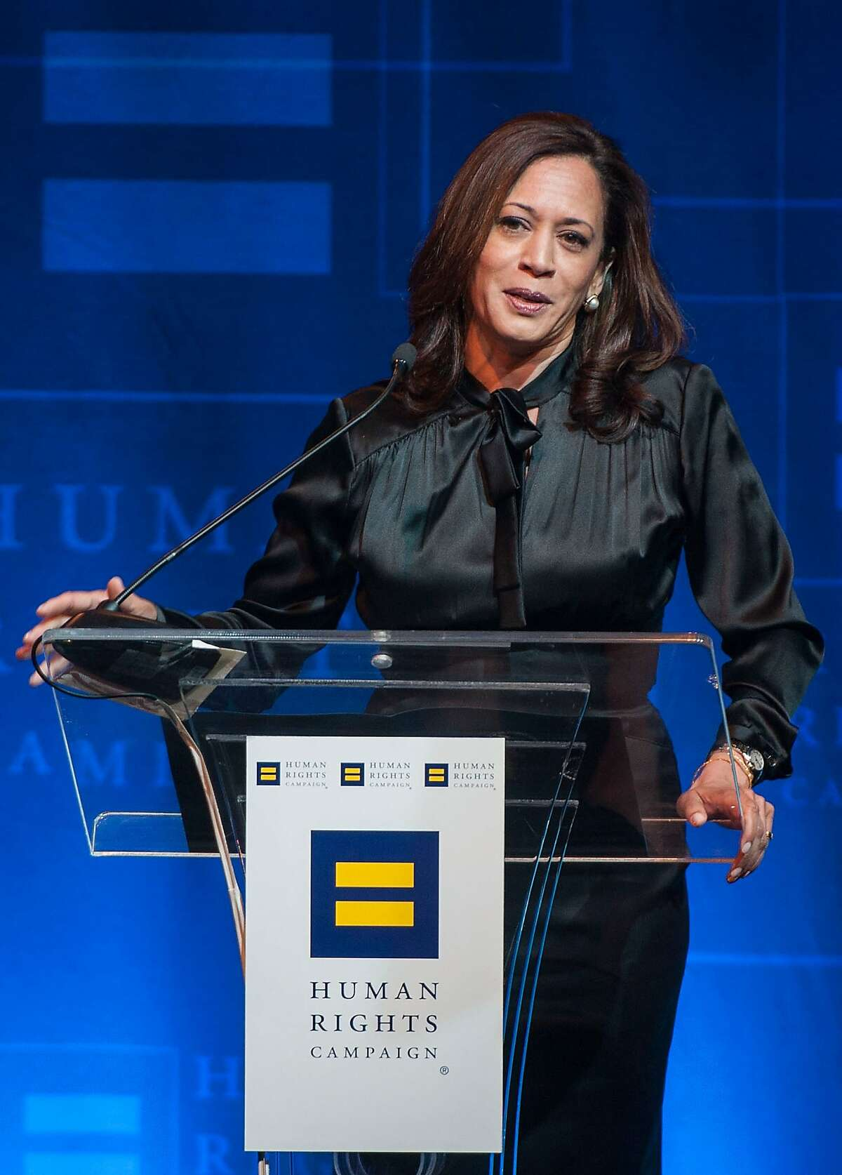 LOS ANGELES, CA - MARCH 22: Kamala Harris speaks during the Human Rights Campaign Los Angeles Gala Dinner at JW Marriott Los Angeles at L.A. LIVE on March 22, 2014 in Los Angeles, California. (Photo by Valerie Macon/Getty Images)