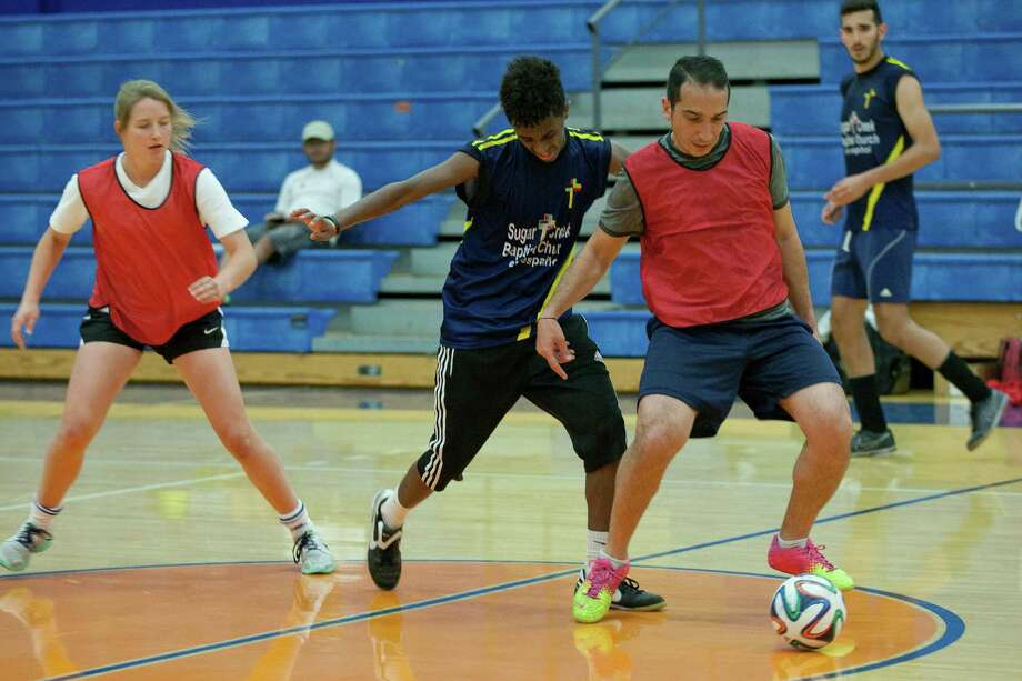 Players from Team Argentina and Team Jerusalem play during the 5th annual Cup of Nations Soccer Tournament held at Houston Baptist University Saturday, April 5, 2014, in Houston. 