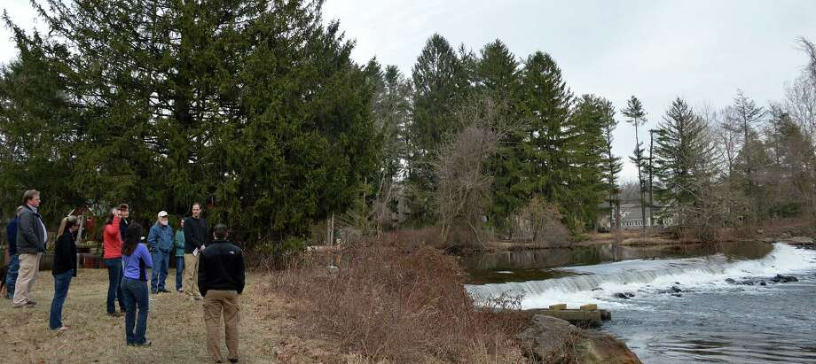 Aquarion Water Co. owns the land surrounding Wood Dam on an undeveloped stretch of the Saugatuck River not far from downtown. Photo: Jarret Liotta / Westport News