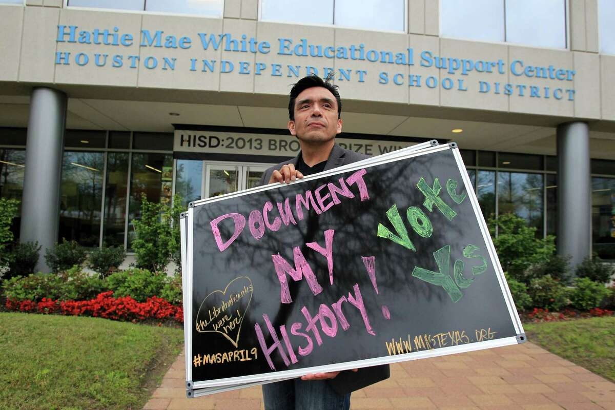 Tony Diaz stands outside an HISD board meeting Thursday before a vote supporting the development of state curriculum for a Mexican-American history class.