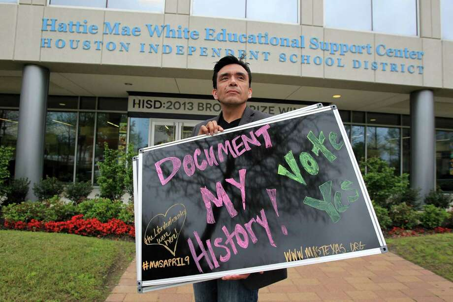 Tony Diaz stands outside an HISD board meeting Thursday before a vote supporting the development of state curriculum for a Mexican-American history class. Photo: Mayra Beltran, Staff / © 2014 Houston Chronicle