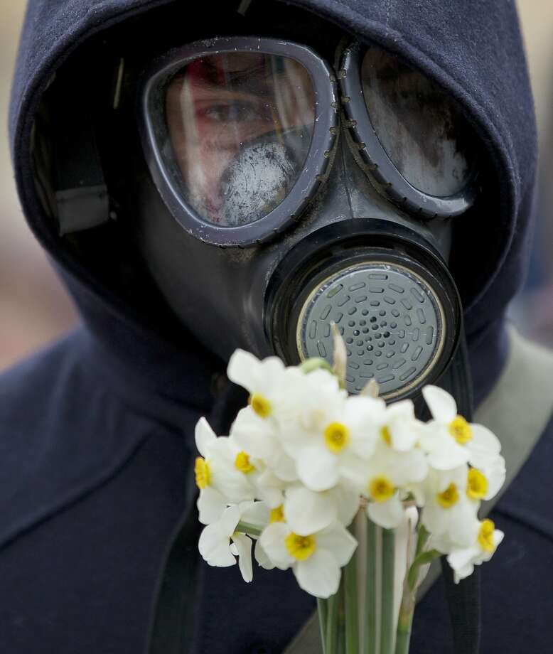 An anti-fracking demonstrator wears a gas mask and holds flowers during a protest in Bucharest, Romania, Sunday, April 6, 2014. Thousands gathered in several Romanian cities to protest plans by US based oil giant Chevron to start fracking based shale gas exploration in eastern Romania.(AP Photo/Vadim Ghirda) Photo: Vadim Ghirda, Associated Press