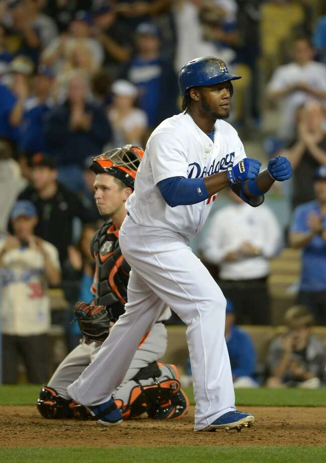 Dodgers shortstop Hanley Ramirez, a free agent after the season, reacts after the second of his two home runs. Photo: Kirby Lee, Reuters