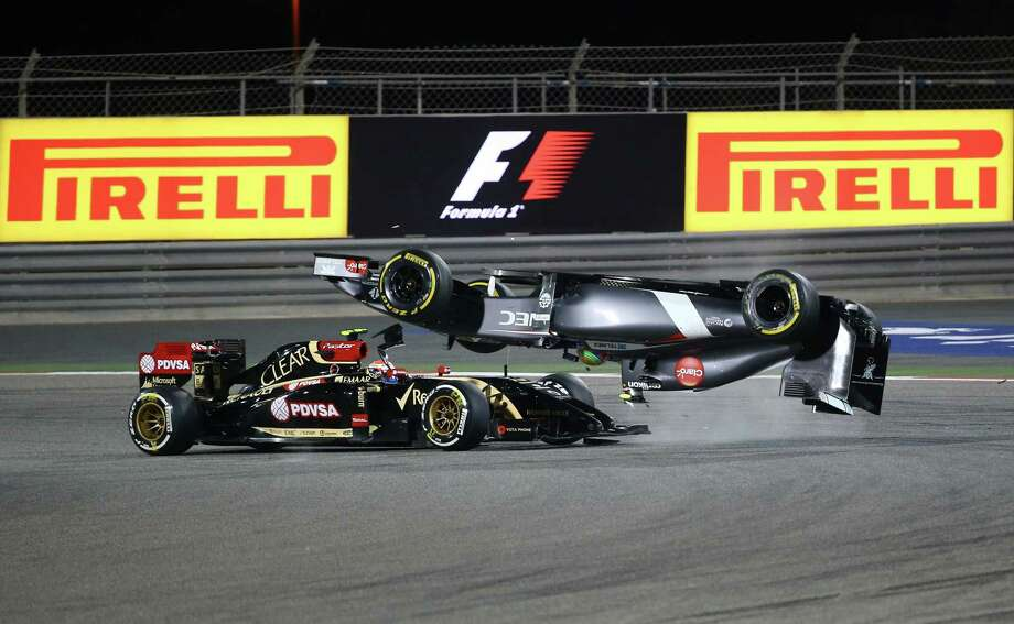 Esteban Gutierrez's car goes airborne during Sunday's Formula One race at Sakhir, Bahrain. Gutierrez was not injured. Lewis Hamilton went on to win. Photo: MARWAN NAAMANI, Staff / AFP