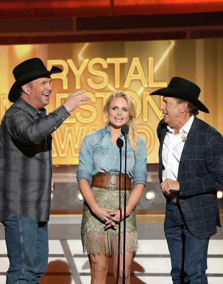 LAS VEGAS, NV - APRIL 06:  (L-R) Singer/songwriters Garth Brooks, Miranda Lambert and George Strait speak onstage during the 49th Annual Academy Of Country Music Awards at the MGM Grand Garden Arena on April 6, 2014 in Las Vegas, Nevada. Photo: Ethan Miller, Getty Images / 2014 Getty Images