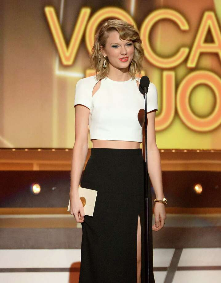 LAS VEGAS, NV - APRIL 06:  Singer/songwriter Taylor Swift speaks onstage during the 49th Annual Academy Of Country Music Awards at the MGM Grand Garden Arena on April 6, 2014 in Las Vegas, Nevada. Photo: Ethan Miller, Getty Images / 2014 Getty Images