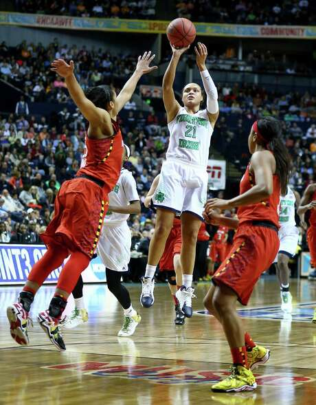 Maryland had no answer for Notre Dame's Kayla McBride (21), who scored 28 points. Photo: Andy Lyons, Staff / 2014 Getty Images