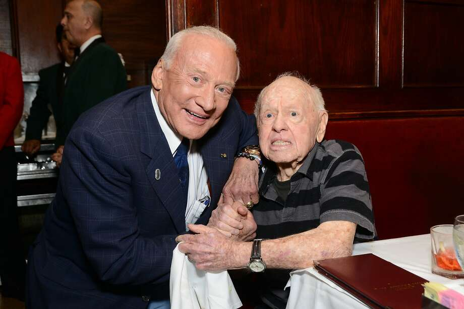 Buzz Aldrin and Mickey Rooney attend A. C. Lyles Birthday Party  at Musso & Frank on May 17, 2013 in Hollywood, California. (Photo by Araya Diaz/Getty Images) Photo: Araya Diaz, Getty Images