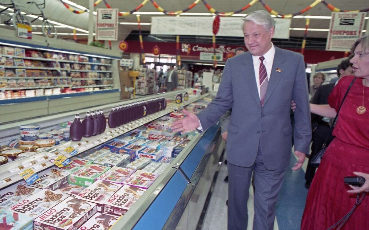 09/16/1989 - Boris Yeltsin and a handful of Soviet companions made an unscheduled 20-minute visit to a Randall's Supermarket after touring the Johnson Space Center. Between trying free samples of cheese and produce and staring at the frozen food selections, Yeltsin roamed the aisles of Randall's nodding his head in amazement.