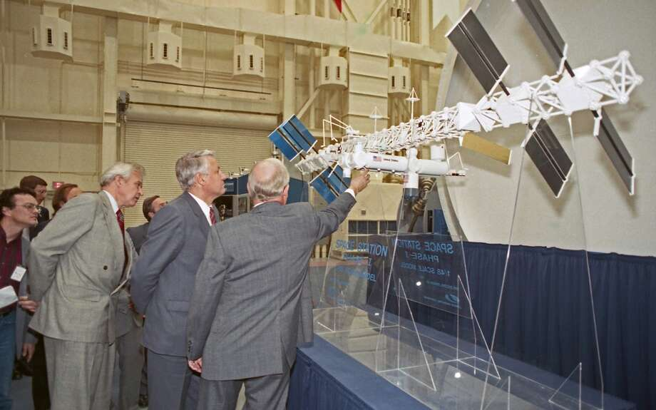09/16/1989 - On a last-minute stopover in Houston, Boris Yeltsin and a handful of Soviet companions were treated to a private Johnson Space Center tour of mission control and a mock-up of the planned space station.  As he toured the space station mock-up, Yeltsin asked Clark Covington, NASA's technical assistant director, detailed, technical questions about materials used to construct space shuttles and auxiliary equipment. Yeltsin has an engineering background, his translator said. Photo: © Houston Chronicle