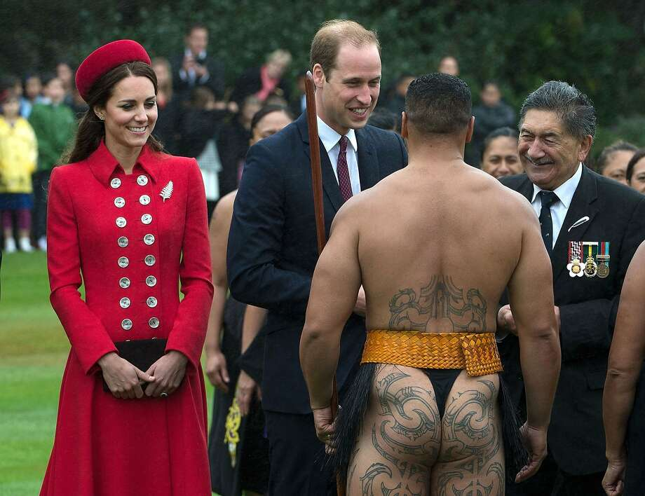 Saying hello the Maori way: A Maori warrior greets Prince William and Kate during a 