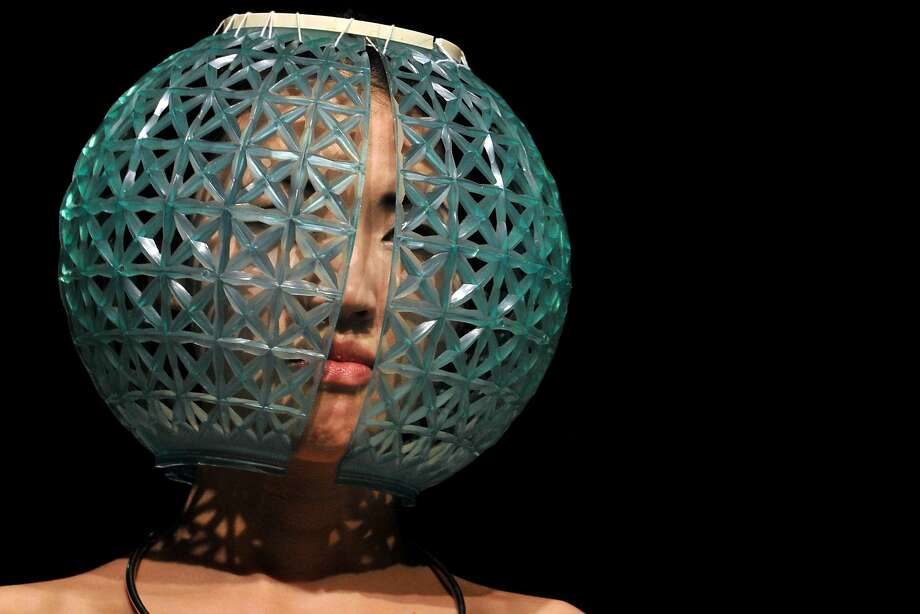 Trying to lose weight?Overeating while wearing this bulbous creation by Kyrgyz designer Abylkasym kyzy Gulburak at Bishkek Fashion Week is almost impossible. Photo: Vyacheslab Oseledko, AFP/Getty Images