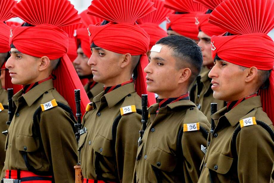 Maybe no one will notice: Someone forgot his turban at the Jammu and Kashmir Light Infantry Regiment dress parade at an Indian Army base on 