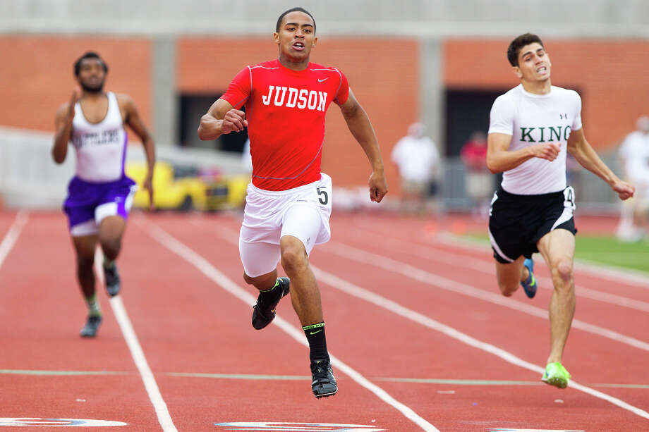 Judson's Brandon Sanders crosses the finish line of the 400-meter dash during the Region IV-5A track meet at Heroes Stadium on Saturday, April 27, 2013.  Sanders won the event with a time of 48.17.  Photo by Marvin Pfeiffer / Prime Time Newspapers Photo: MARVIN PFEIFFER, Marvin Pfeiffer / Prime Time New / Prime Time Newspapers 2013