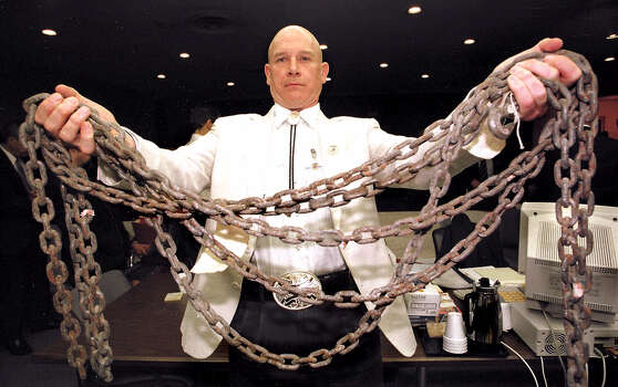Major Texas hate-crime case Jasper County Assistant District Attorney Pat Hardy displays the chain used to drag James Byrd Jr. to his death in 1998. • Conviction upheld for one of three Photo: BUTCH IRELAND, Houston Chronicle / POOL COLLEGE STATION EAGLE