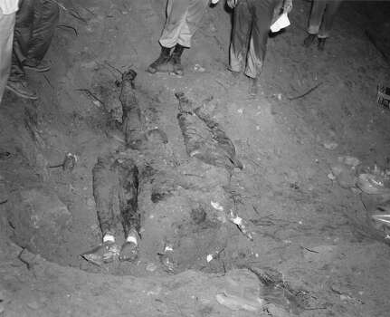 Grisly crime scene evidence The bodies of three civil rights workers are shown uncovered in 1964 at an earthen dam southwest of Philadelphia, Miss. The photograph was entered as evidence against Edgar Ray Killen, who was convicted in 2005 of three counts of manslaughter in the deaths of James Chaney, Andrew Goodman and Michael Schwerner.  • Discovery's 'The Injustice Files' looks at cold cases Photo: Anonymous, Houston Chronicle / FBI