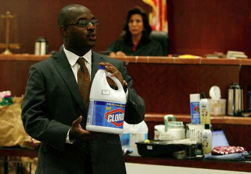 Assistant District Attorney Kebharu Smith tells the jury how Shepherd's apartment had been heavily bleached and parts were freshly repainted when investigators first interviewed him.  • Witness says victim rejected his ring Photo: Karen Warren, Houston Chronicle / Houston Chronicle