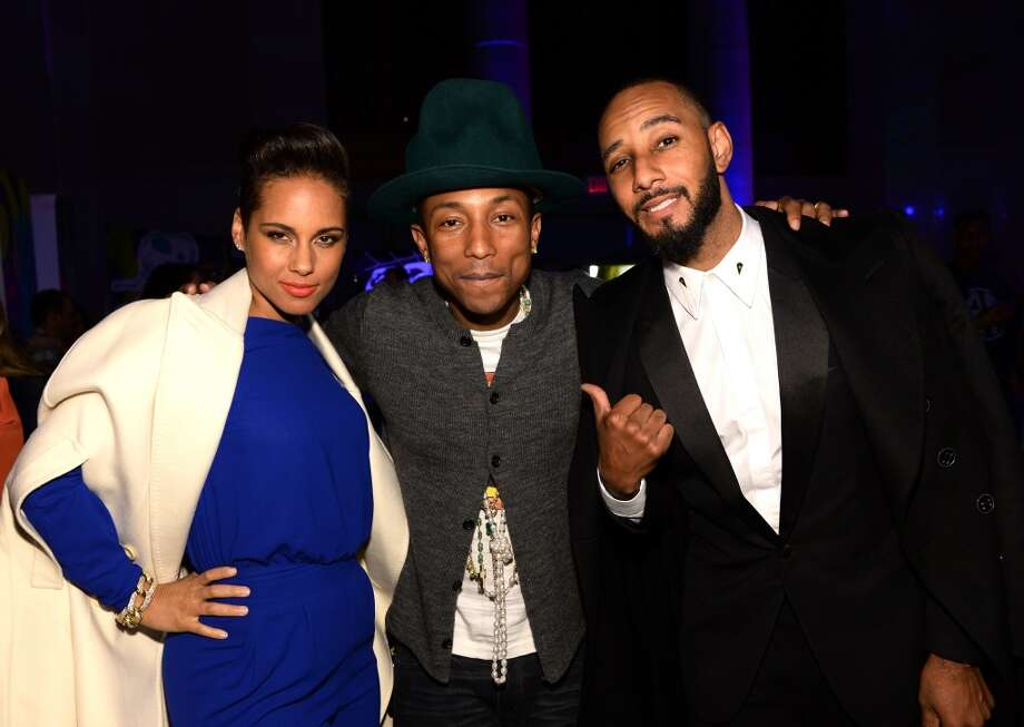 (L-R) Alicia Keys, Pharrell Williams and Swizz Beatz attend the SpongeBob SquarePants themed, 41st birthday party for Pharrell Williams  at Bikini Bottom at Cipriani Wall Street on April 4, 2014 in New York City. Photo: Dimitrios Kambouris, Getty Images For Nickelodeon