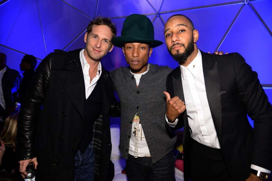 (L-R) Josh Lucas, Pharrell Williams and Swizz Beatz attend the SpongeBob SquarePants themed, 41st birthday party for Pharrell Williams  at Bikini Bottom at Cipriani Wall Street on April 4, 2014 in New York City. Photo: Dimitrios Kambouris, Getty Images For Nickelodeon