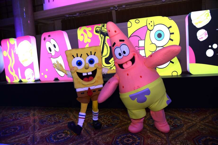 SpongeBob SquarePants and Patrick Star attend the SpongeBob SquarePants themed, 41st birthday party for Pharrell Williams  at Bikini Bottom at Cipriani Wall Street on April 4, 2014 in New York City. Photo: Dimitrios Kambouris, Getty Images For Nickelodeon