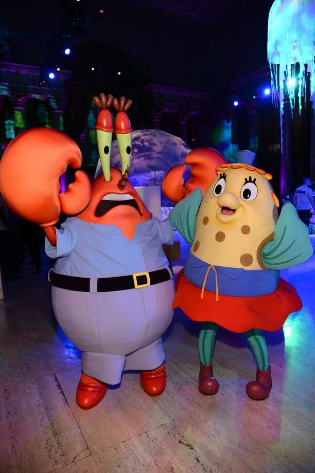 Mr. Krabs and Mrs. Poppy Puff attend the SpongeBob SquarePants themed, 41st birthday party for Pharrell Williams  at Bikini Bottom at Cipriani Wall Street on April 4, 2014 in New York City. Photo: Dimitrios Kambouris, Getty Images For Nickelodeon