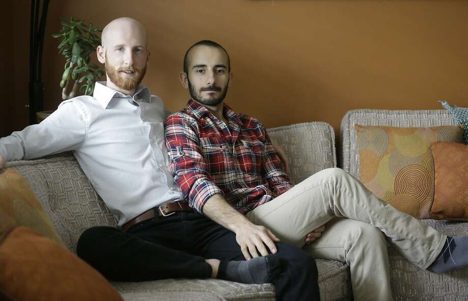 Derek Kitchen (left) and Moudi Sbeity of Salt Lake City are plaintiffs in a lawsuit against Utah's same-sex marriage ban. Photo: Rick Bowmer, Associated Press