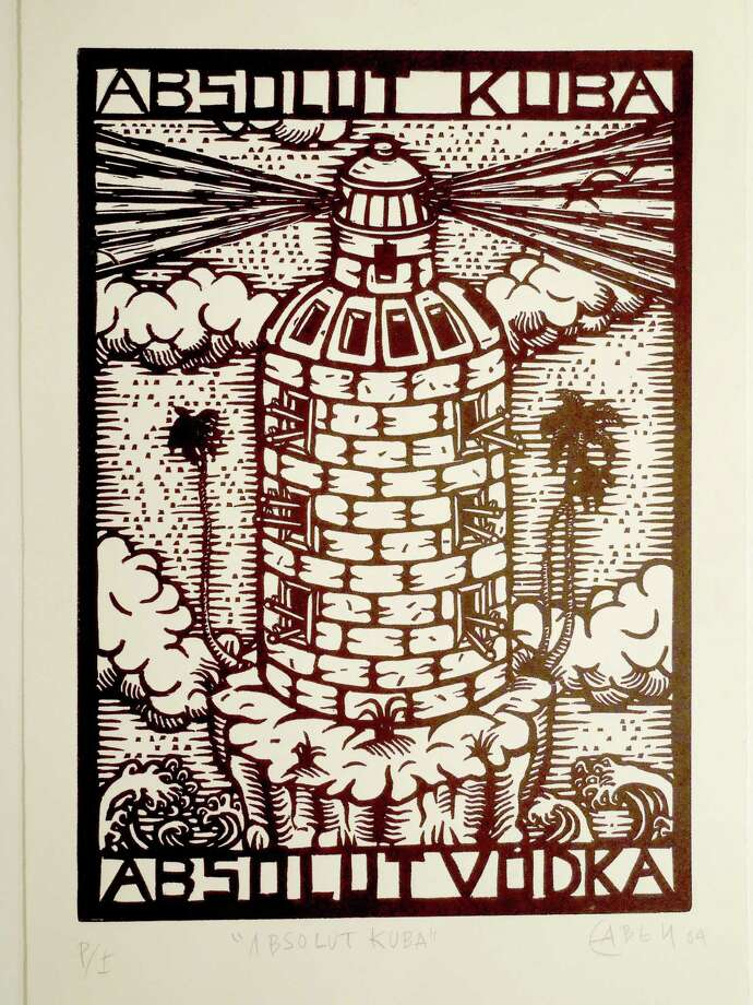 "Eduardo Miguel Abela Torras, whose ""Absolut Kuba,"" a linoleum cut, will be among the pieces on display at a new exhibiton at the Carriage Barn Arts Center, New Canaan, beginning April 24, describes Cuba as a ""country isolated by geography and under embargo from its nearest neighbor for more than 50 years, yet determined to show its strength of character."" Photo: Contributed Photo, Contributed / New Canaan News Contributed"
