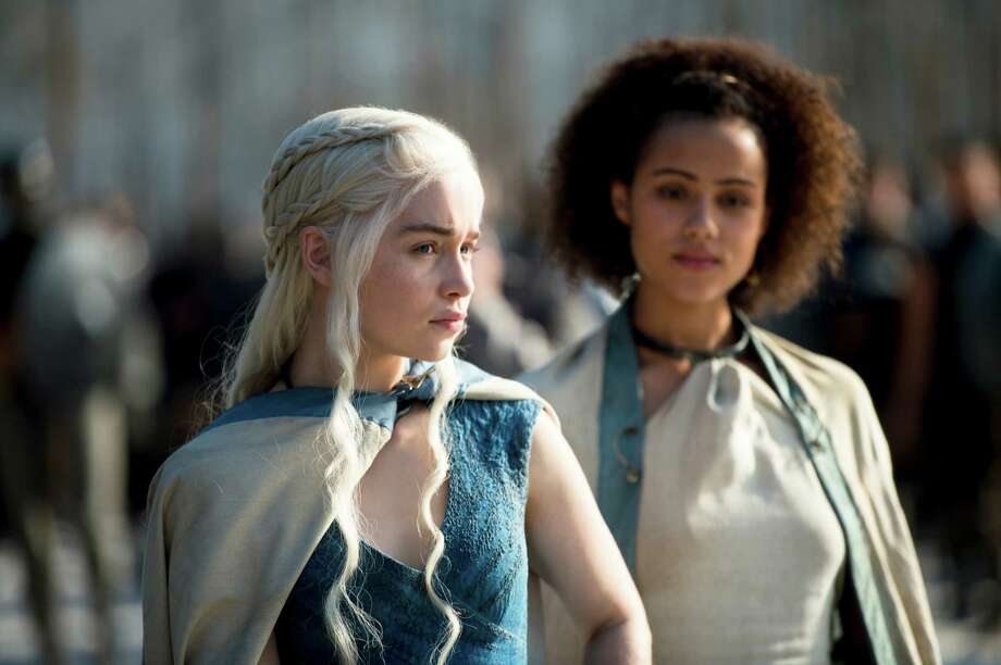 Emilia Clarke and Nathalie Emmanuel....... Season 5 starts April 12. Photo: Macall B. Polay / HBO / ONLINE_CHECK