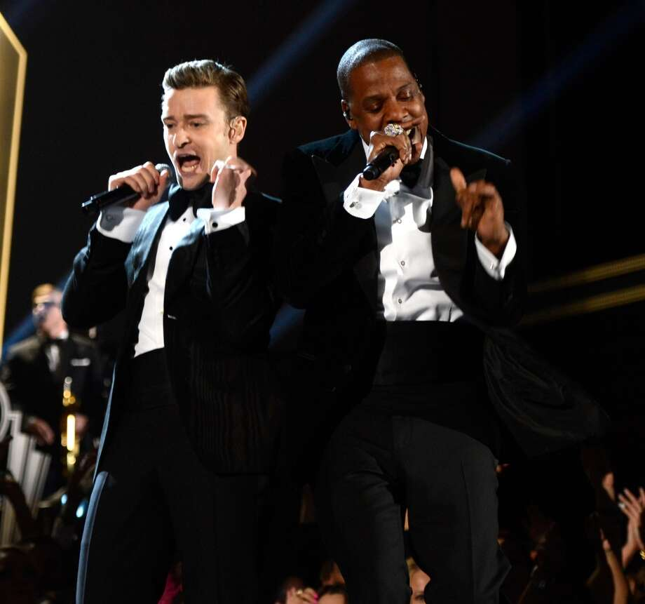 LOS ANGELES, CA - FEBRUARY 10:  Justin Timberlake and Jay-Z perform onstage during the 55th Annual GRAMMY Awards at STAPLES Center on February 10, 2013 in Los Angeles, California.  (Photo by Kevin Mazur/WireImage) Photo: WireImage