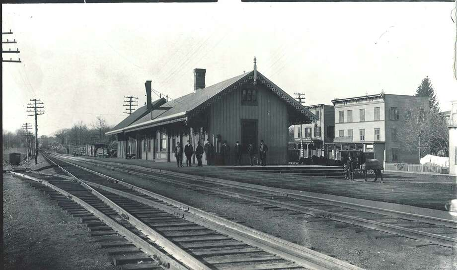 Photo of the Greenwich Railroad Station taken before the third and fourth tracks were installed. Photo courtesy of the Greenwich Time. Photo: Contributed Photo / Connecticut Post Contributed